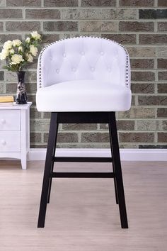 Avril Modern White Faux Leather Tufted Swivel Barstool by Wholesale Interiors on @HauteLook