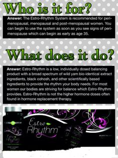 "Are you having *HOT FLASHES* or other memopausal symptoms? Me too!  Are you looking for a natural product to relieve your symptoms? I was too!   ESTRO-RHYTHM is the world's first naturally based, single-use daily system for menopausal symptoms. It's superior formulation uses natural ingreidients to help you  ""get your rhythm back"" without the worries accociated with synthetic solutions."