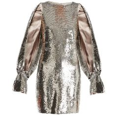 Osman Poppy split-sleeved sequin-embellished dress ($1,103) ❤ liked on Polyvore featuring dresses, silver, going out dresses, brown dress, sequin dress, holiday party dresses and silver shimmer dress