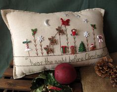 This Christmas Eve-themed hand-made muslin needlework pillow is perfect for holiday decor and celebrating the season! Size is approximately 16 x 8.