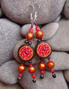 Wooden earrings with hand-painted... Ar-Mari Rubenian...