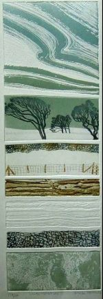 Brenda Harthill - 'Winter Variations III'. Collage of seven etched plates. The top and bottom plate are not intaglio-inked, but are heavily bitten, embossed plates inked by rolling on top.