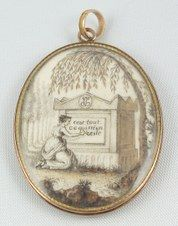 """Hand-painted miniature on ivory of a mother mourning at the tomb of her infant.  The sepia tones of the paint were often derived using macerated hair as a pigment. The willow tree leaves are bits of the baby's hair.  Inscription reads: """"C'est tout ce qui m'en reste."""" loosely translated as """"This is all I have left.""""  There are intertwined initials at the top of the tomb."""