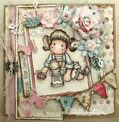 magnolia tilda card | love this cute tilda she s kneeling tilda from the