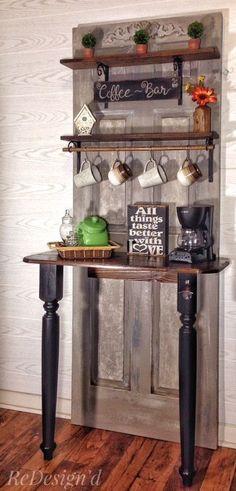 25 Diy Recycled Door And Window Projects - Top Do It Yourself Projects Coffee Bars In Kitchen, Coffee Bar Home, Door Furniture, Furniture Makeover, Furniture Ideas, Porta Diy, Old Door Projects, Recycled Door, Old Wood Doors