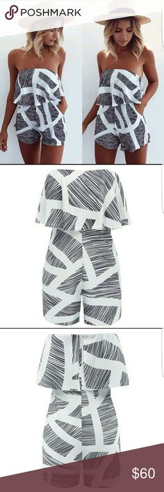 💋 Boho Romper 💋 One for meeee one for youuuuu!!! ❤ Super adorable geometric style romper. Charcoal grey and white. Elastic waist band. Elastic rubber lining to help stay put. Cotton/ Polyester.  So comfortable. ❤AMAZINGGG QUALITY❤ Shorts