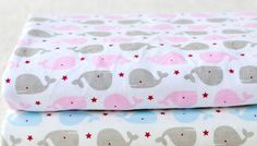 Cute baby knit fabric pink   baby blue   grey cetacean knit fabric kid's fabric blanket fabric bedding fabric baby clothes fabric (7.20 USD) by Vivianzakka