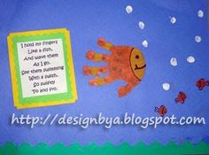 June Handprint Calendar Also downward for octopus Finger print fish and tips of fingers...bubbles, curvy twisted paper strips for sea grasses