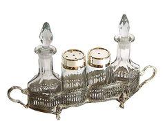 Set da condimenti in sheffield argento, 5 pezzi