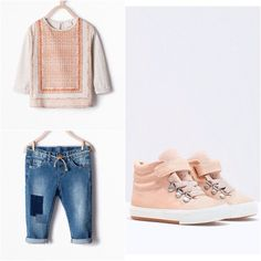 Zara Girl Printed Shirt, Patchwork Jeans, & Sneakers