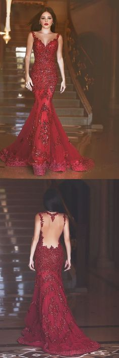 Glamorous Said Mhamad Dresses,Long Prom Dress, Red Prom Dress, Mermaid Prom Dress, Sequins Prom Dress 2017, Appliques Sweep Train Evening Gowns