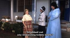 """Scrubbed out any interesting toilets lately? Edith Massey (as Cuddles Kovinsky), Joni Ruth White (as La Rue) and Divine (as Francine Fishpaw) from John Waters' Polyester, 1981 Stiv Bators, Tab Hunter, Mink Stole, John Waters, Scrubs, Film, Coat, Toilets, Cuddles"