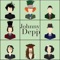 johnny depp-movies Edward Scissorhands, Barnabas Collins, Willy Wonka, The Mad Hatter, Sleepy Hollow, Jack Sparrow, Sweeney Todd, John Dillinger