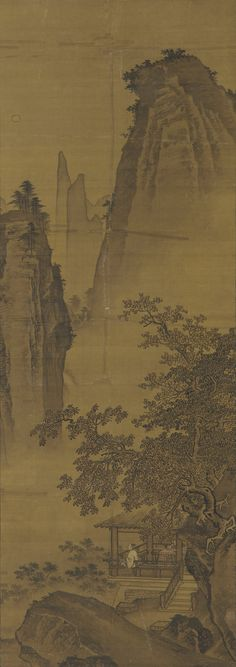 Du Fu,  A Night-vigil in the Left Court of the Palace  Ma Yuan,  Moonlit Pavilion in the Mountains, ca. 1500, Smithsonian Museum, F1907.140
