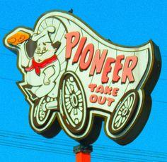 Pioneer Chicken-Los Angeles, Ca Vintage Neon Signs, Retro Vintage, Advertising Signs, Vintage Advertisements, Great Memories, Childhood Memories, Pioneer Chicken, Roadside Signs, I Love La