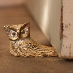 Whitewash Cast Iron Owl Door Stop - <3!