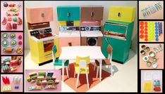 Vintage Dream Kitchen Play Set for Barbie by by FiveStarFinds, $175.00 Kitchen Refrigerator, Refrigerator Freezer, Food Mold, White Dining Table, Dishwasher Racks, Small Plates, Shipping Boxes, Cool Kitchens, Play Kitchens
