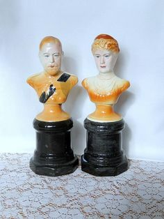 vintage king and queen royals busts home decor royalty by brixiana
