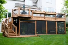 Outdoor Deck Ideas - You've chosen a deck over a patio. Need deck ideas? Enjoy this slideshow of deck design ideas and pictures for your next project. Pavillion, Diy Deck, House With Porch, Decks And Porches, Screened In Porch, Front Porch, Building A Deck, House Building, Building Plans