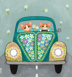 Hippie+CATS+Flower+Power+Road+Trip+Driving+Cats+by+KilkennyCatArt