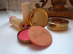 Vintage 1930s Rouge Compacts and Rare Bakelite Lipstick Tubes via Etsy
