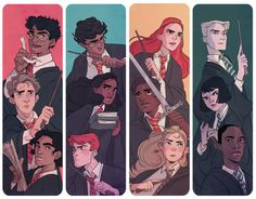 """batcii: """"some hp bookmarks I made up to sell at oz comic con this weekend; marauders, golden, silver, and slytherin trios. if ur gonna be there come say hi! """""""