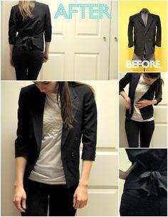 turn a men's blazer into a feminine blazer with a bow!