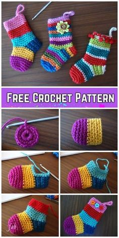 Baby Knitting Patterns Crochet Christmas Socks Free Crochet Patterns - Video tutorial of rainbow Christmas stocking 20 Easy Crochet Ornaments and Projects for Christmas - For Creative Juice Crochet Christmas Decorations, Crochet Ornaments, Crochet Decoration, Crochet Christmas Stockings, Free Christmas Crochet Patterns, Easy Ornaments, Crochet Christmas Gifts, Crochet Snowflakes, Christmas Knitting