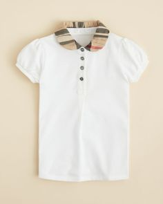 Burberry Girls' Ruched Check Collar Polo Shirt - Sizes 4-6