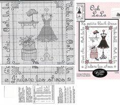 point de croix petite robe noire et chaussures - cross stitch little black dress and shoes