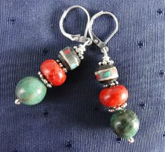 Boho Tribal Earrings with Ethnic beads by GemstoneJewelrybyVal, $16.00