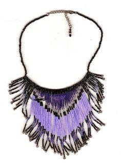 SALE- Hand beaded black and purple fringe necklace. $35.00, via Etsy. #beaded #beadwork seed bead # necklace #neck peice #jewelry #original #etsy #teamhandmade