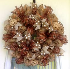 """22"""" Burlap with Copper, Gold and Bronze Stripes Deco Mesh Fall Wreath with Rattan Orbs and Glittery Acorns."""