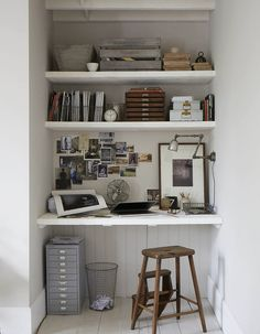 Nice idea for creating a desk in a small space :)