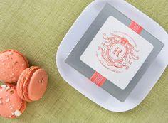 Monograms and macarons. #favors
