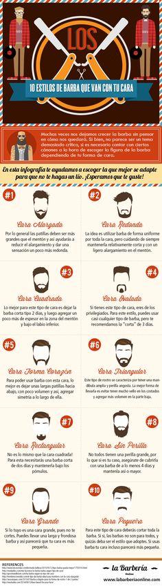 10 Estilos de Barba Que Van Con Tu Cara #beardstyle #EstilosdeBarba #infography