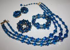 Vintage Necklace Brooch Earring Bracelet Set Blue by patwatty, $55.00