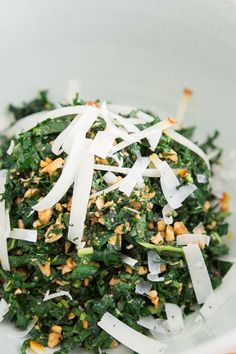 Kale gets a bad rap. It doesn't have to be a mushy, green mess. Try this kale with marcona almond salad. Kale Salad Recipes, Veggie Recipes, Healthy Recipes, Kale Salads, Healthy Drinks, Delicious Recipes, Healthy Foods, Pbs Food, Cookout Food
