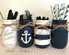 Nautical decor for the home. See more ideas about Cabin signs, Cottage room deco. - Nautical decor for the home. See more ideas about Cabin signs, Cottage room decoration and Lake hom - Beach Mason Jars, Mason Jar Crafts, Bottle Crafts, Boy Baby Shower Themes, Baby Boy Shower, Baby Showers, Deco Theme Marin, Nautical Party, Baby Shower Nautical