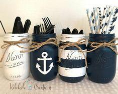 Tarros de tarros de Mason náutica, náutica, decoración de casa de playa, tarros de masón de Faro, decoración de la boda náutica, decoración de la boda de mar, fiesta náutica