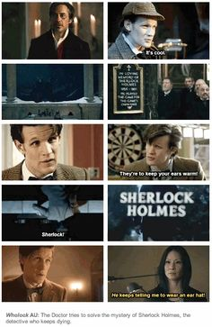 (gif set) Wholock AU: The Doctor tries to solve the mystery of Sherlock Holmes, the detective who keeps dying. ||| Doctor Who + Sherlock + Sherlock Holmes + Elementary