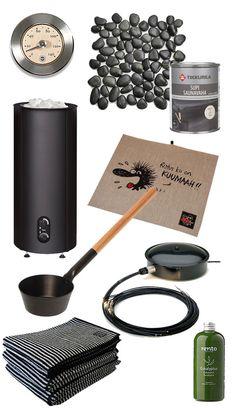 Modernin savusaunatunnelman resepti on näinkin yksinkertainen: sudi sauna kokonaan mustaksi saunavahalla! Älä unohda mustaa jokikivilaattalatt…