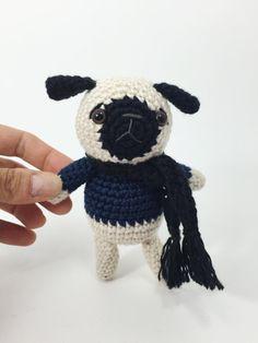 Crocheted Pug Crochet Dog Crochet Animal Crochet Doll by MossyMaze