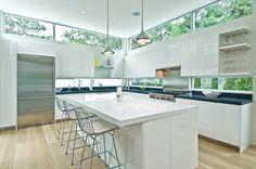 Window backsplash kitchen contemporary with clerestory windows white countertop