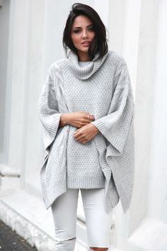 Oversized roll neck, cable knit poncho in grey. You will live in this poncho through the winter. Dress it up or dress it down and still look adorable and comfortable! Sweater Sale, Loose Sweater, Poncho Sweater, Knitted Poncho, Grey Sweater, Long Sleeve Sweater, Love Storey Boutique, Grey Poncho, Ladies Poncho