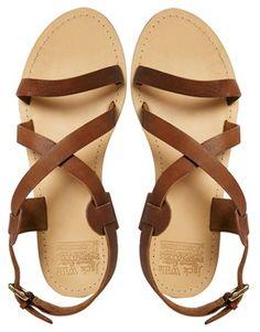 Jack Wills Tan Leather Lazenby Flat Sandals, $75