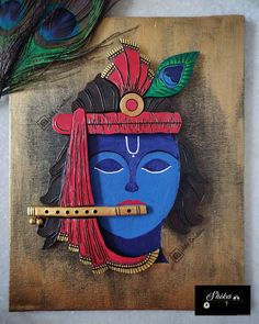 Krishna Painting, Krishna Art, Simple Acrylic Paintings, Painting Abstract, Terracotta Jewellery, Beautiful Paintings, Flute, Art Work, Projects To Try