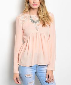A sheer lace neckline complements the billowing swing silhouette detailing this trend-right top. Swing Top, That Look, Blush, Cute Outfits, Tunic Tops, Fashion Outfits, Lace, How To Wear, Clothes