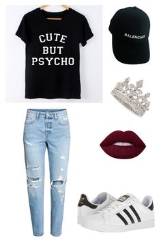 """""""semi-lazy thursday"""" by madeleinecook ❤ liked on Polyvore featuring H&M, adidas, Balenciaga and Garrard"""