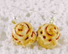 Cinnamon Roll Earrings Polymer Clay Charm Kawaii by LolitaPopShop